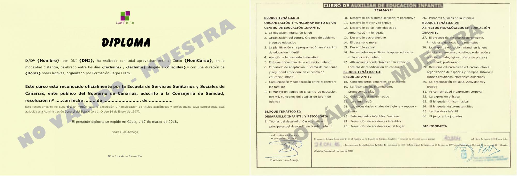 Modelo diploma cursos de la ESSSCAN